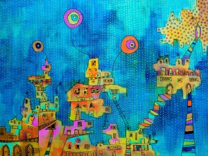 Golden City. Acrylic and marker on canvas, 2011