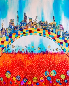 San Gimignano. Acrylic and marker on canvas, 2011