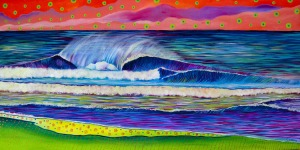 Wave 1.2. Acrylic on canvas, 18 x 36 inches, 2013
