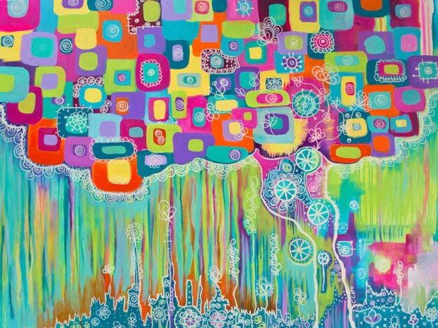 """A Tree Full of Dreams"". Acrylic on canvas, 48 x 36 inches, $1200, 2014."