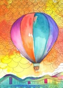 """Big Balloon"". Acrylic and acrylic markers on wood panel, 7x5 inches."