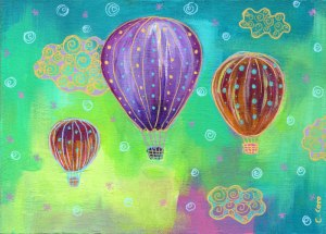 """""""Clouds and Balloons"""". Acrylic and acrylic markers on wood panel, 5x7 inches."""
