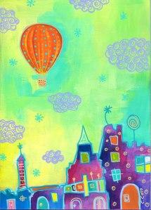 """Orange Ballon"". Acrylic and acrylic markers on wood panel, 7x5 inches."