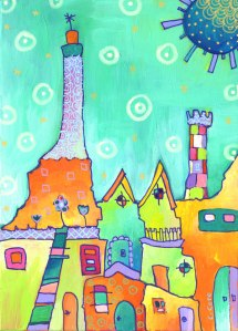 """""""Orange Sky and Lighthouse"""". Acrylic and acrylic marker on panel, 5x7 inches."""