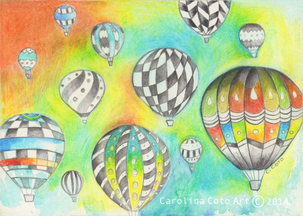 """Balloon Fest"". Graphite and color pencil on panel, 5x7 inches."