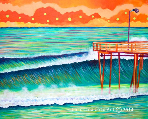 """Big Waves and Pier"", 2014. Acrylic on canvas, 16 x 20 inches. Sold. (Inspired by photo by Ben Gallop- @eastbynoreast on Instagram)"